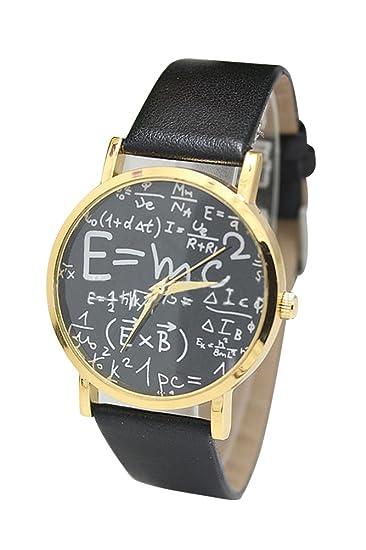 Reloj de pulsera - SODIAL(R)Reloj de pulsera unisex de cuero de imitacion de simbolo matematico de color negro: Amazon.es: Relojes
