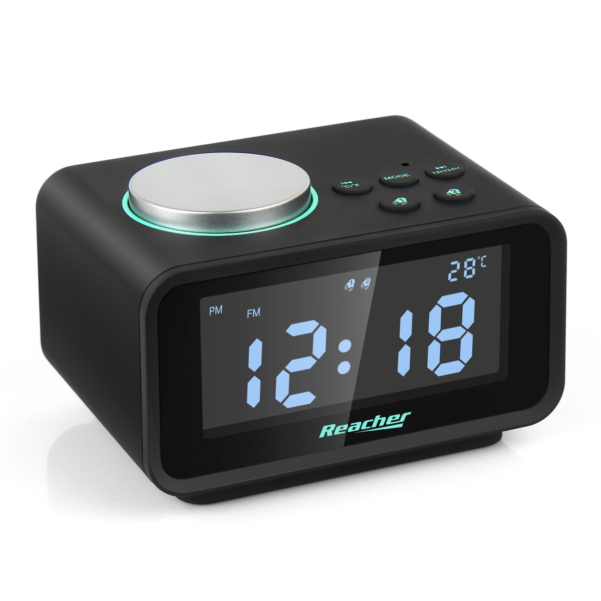 Reacher Alarm Clock Radio with Dual USB Charger Ports 6 Dimmer Snooze Battery Backup FM Indoor Thermometer Adjustable Volume for Bedroom Digital Two Alarm