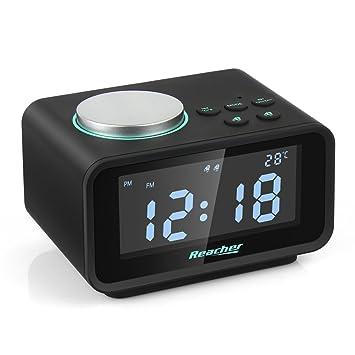 Reacher Radio Reloj Despertador con Alarma Dual, Radio FM Digital Pantalla LCD Regulable y Termómetro de Interior, Función Snooze, Dual Puerto de ...