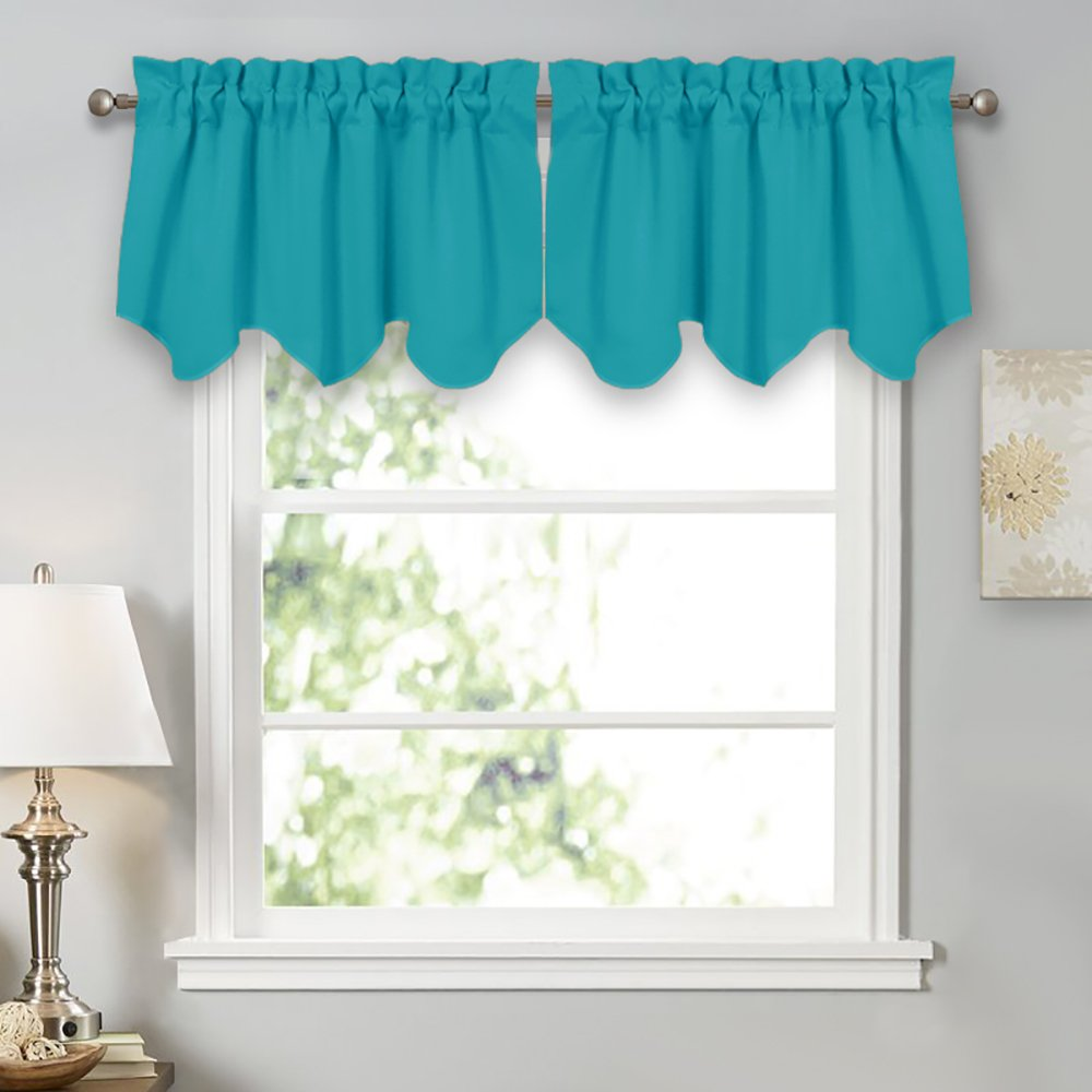 PONY DANCE Window Curtain Valances - Room Darkening Natural Scalloped Tiers Home Decor Rod Pocket Top Short Curtains & Drapes Kitchen, W 42 x L 18 inch, Turquoise, Pack-2