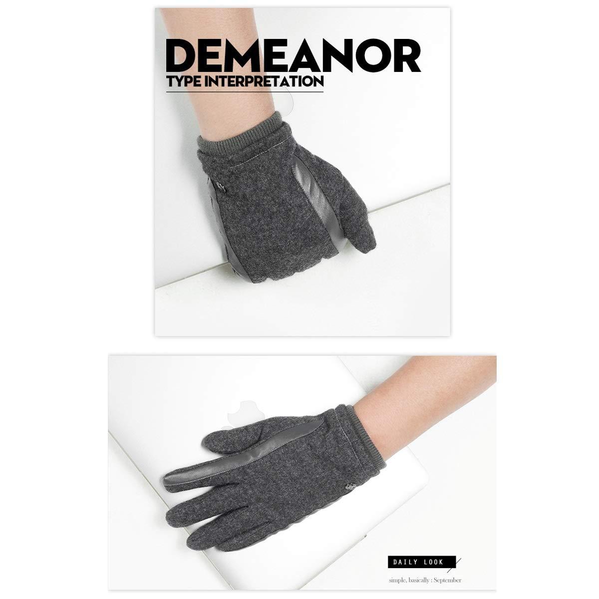 Black//Brown//Gray Haoyushangmao Mens Winter Gloves Good Cold Resistance Warm Wool