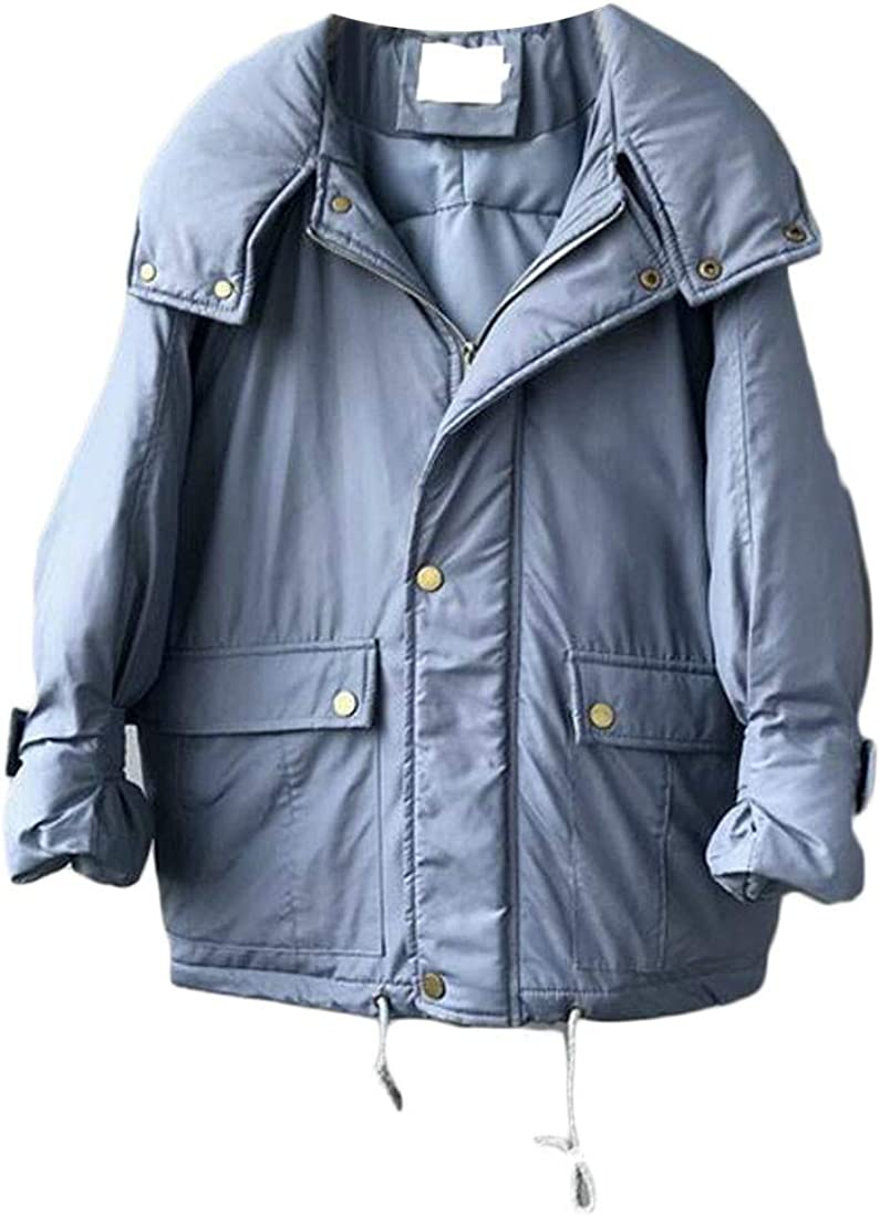 goldenharvest GH Womens Trendy Thick Hooded Padded Pocket Puffer Parka Jacket Coat