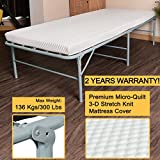 Quictent Folding Bed With Mattress Guest Bed 300lbs Max Weight Capacity Fold Up Bed With Bonus Storage Bag(75'x31'x15', White Mattress)