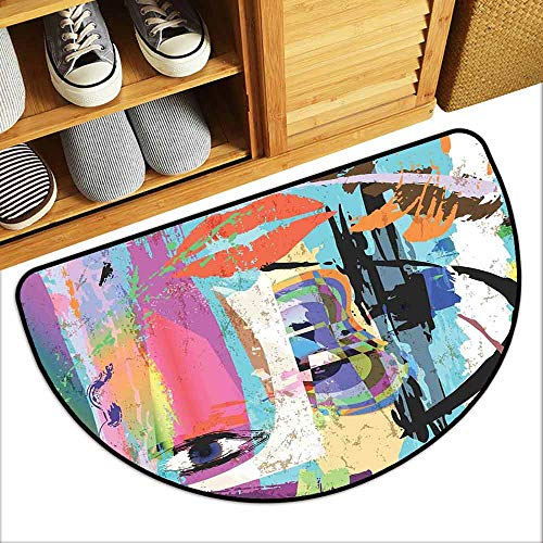DILITECK Non-Slip Door mat Abstract Woman Face Art Composition with Paint Strokes and Splashes Eye Red Lips Grungy Personality W36 xL24 Multicolor