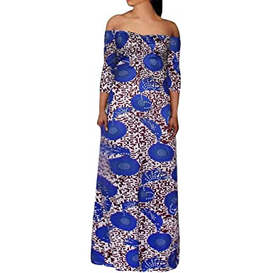 3fe6fb7124e Amazon.com  Nuewofally Womens Ruffle Off Shoulder Long Dress Plus Size Boho  Print Party Dress Backless Long Maxi Half Sleeve  Clothing