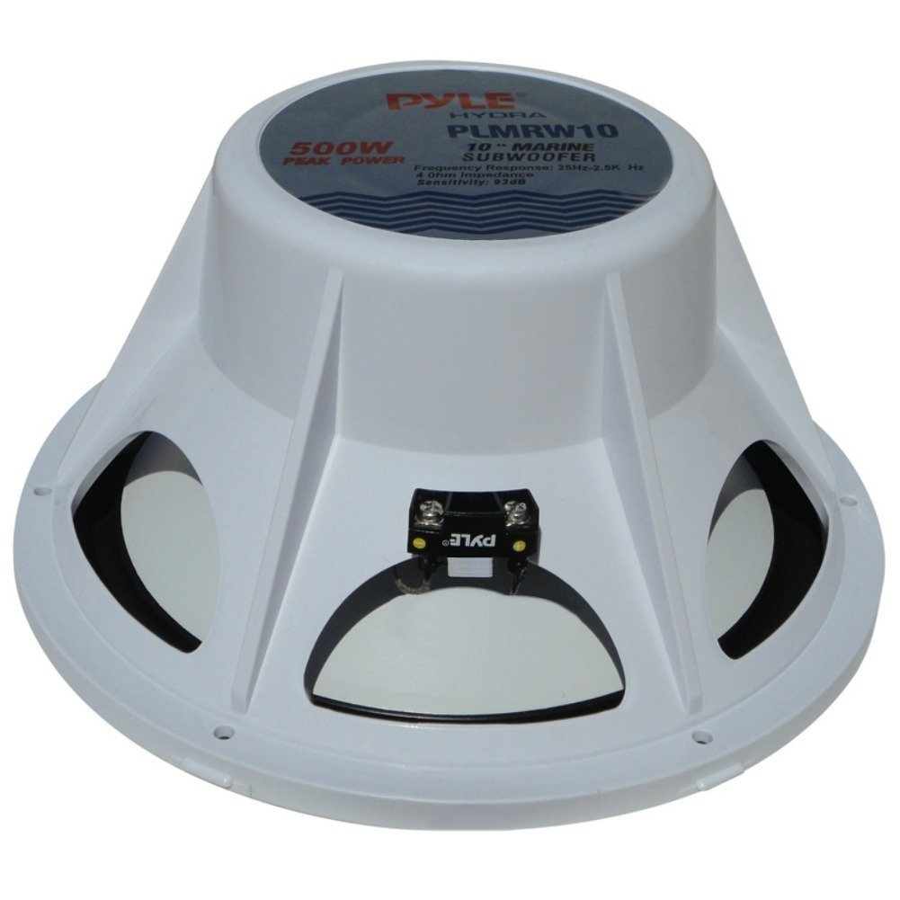 SINGLE COIL OF 4 OHM FROM 250 WATT RMS AND 500 WATT MAX SUB SUBWOOFER SEA WATER PROOF PYLE PLMRW10 10 OF DIAMETER 25,00 CM 250 MM WHITE FOR BOATS BOAT RAFT OR SWIMMING POOL FOR INDOOR AND OUTDOOR