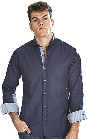 Camisa Oxford semientallada y Manga Larga de Hombre en Azul Marino: Amazon.es: Ropa y accesorios