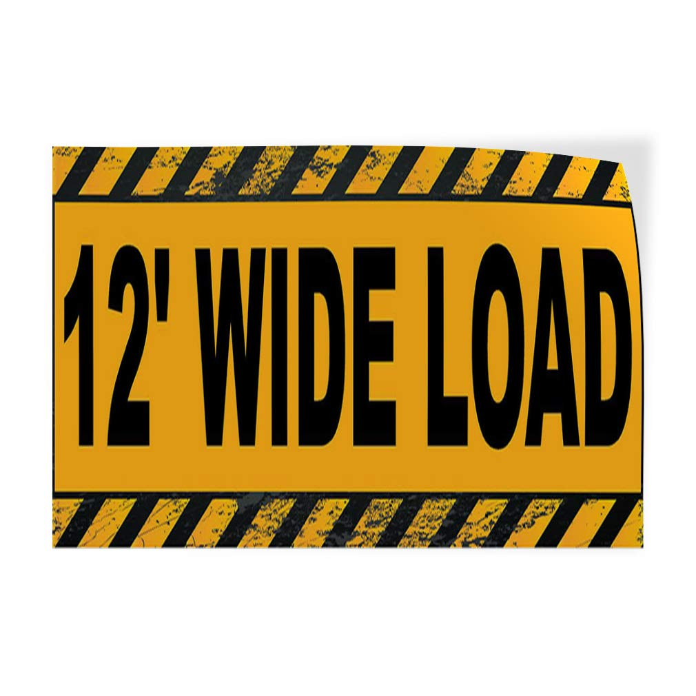 Decal Sticker Multiple Sizes 12 Wide Load Stripe Yellow Black Business Truck Outdoor Store Sign Yellow Set of 10 14inx10in