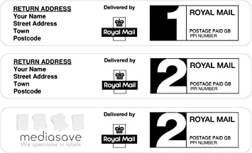 Printed Royal Mail First Class 24 PPI Postage Labels with Return Address