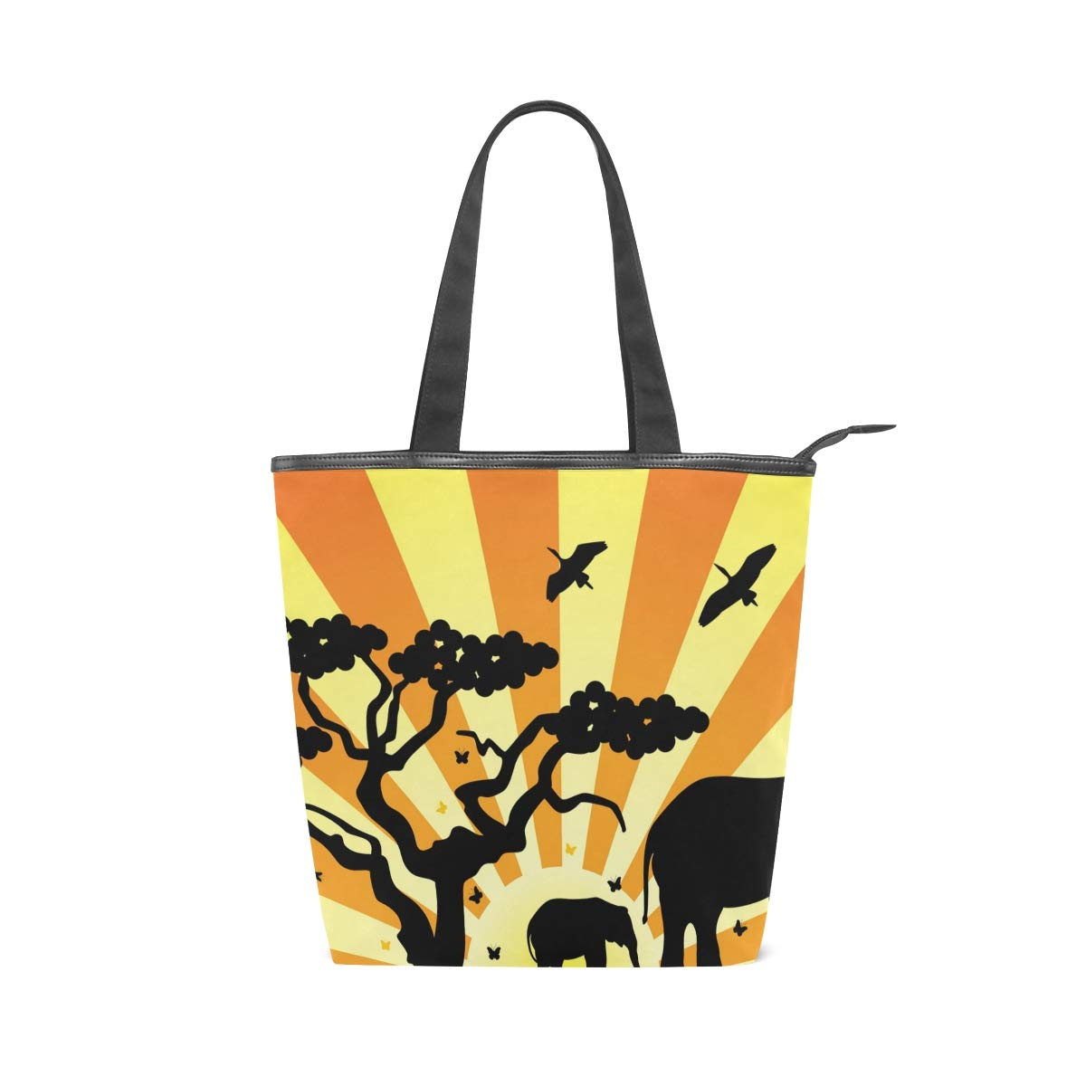 2d72e4387f4e IMOBABY African Animal Elephant Sunset Canvas Large Shopping Tote ...
