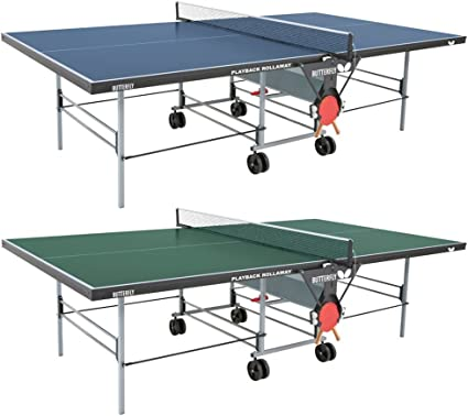 Amazon Com Butterfly Playback 19 Table Tennis Table 3 4 Ping Pong Table Top Butterfly Folding Ping Pong Table Wheels Free For Easy Transport Includes Paddle Holder Rackets