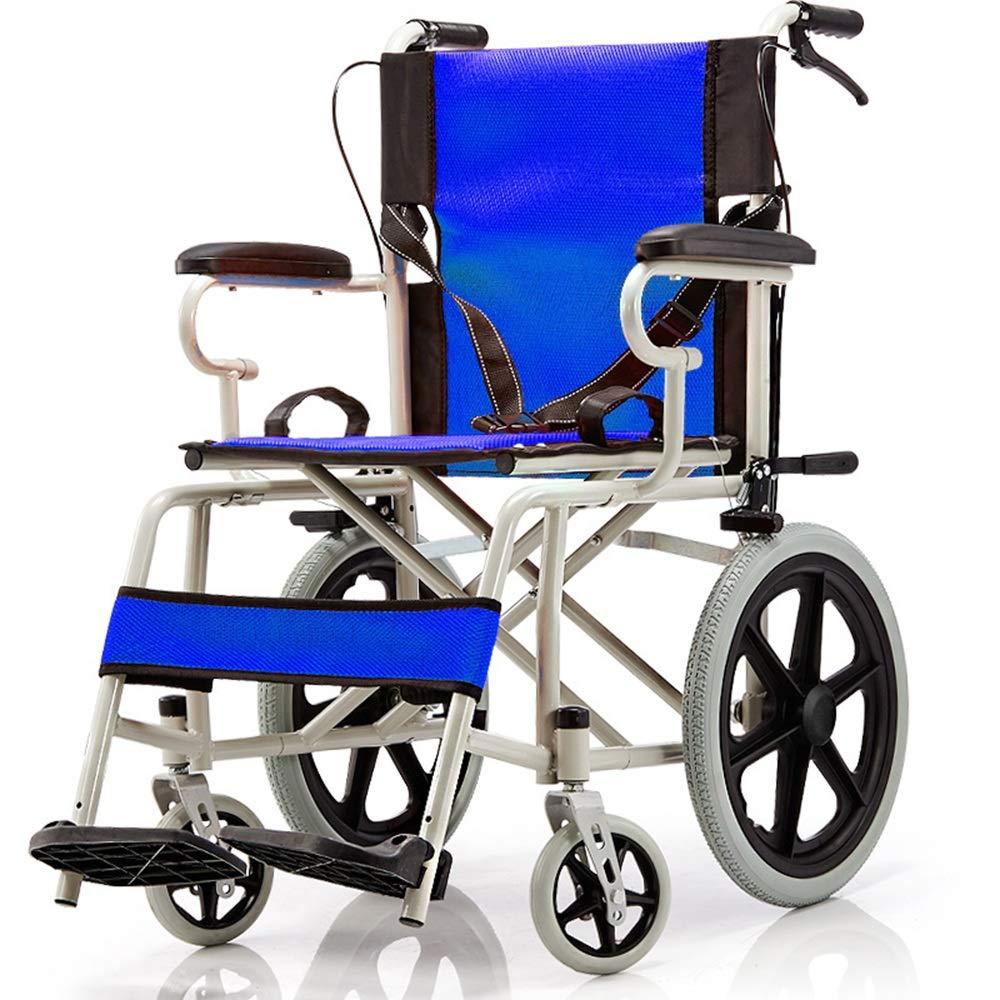 【スーパーセール】 FEIFEI 青 車いす折りたたみ軽量高齢者ポータブル旅行安全車いす (色 : 青) FEIFEI 青 青) B07GTL51QH, くつシカSTORE:b294d5a4 --- a0267596.xsph.ru