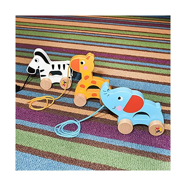 Push Pull Along Wooden Toy Zebra for Baby Toddler Boys and Girls