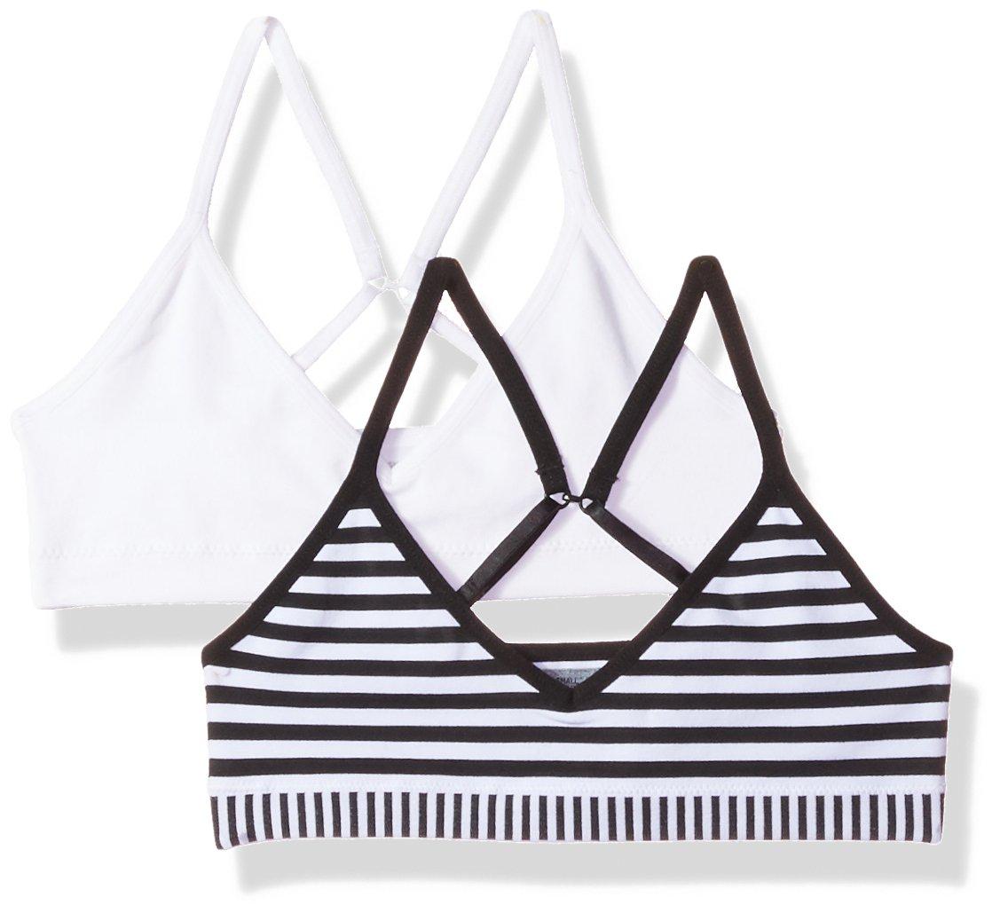 Hanes Big Girls' ComfortFlex Seamless Bralette 2-Pack, White/Black Stripe Combo, X Large
