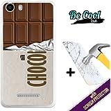 BeCool® - Coque Etui Housse en GEL Wiko Lenny 2, [ +1 Protecteur Verre Trempé ] Silicone TPU, protège et s'adapte a la perfection a ton Smartphone. Tablette de chocolat