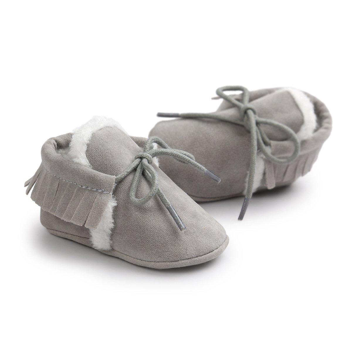 Scrub Botines de Bebe Invierno Tukistore Botines con Flecos Suave Suela Botas de Nieve ni/ñas Ni/ños Primeros Pasos Zapatos Calientes Prewalker de Suela Blanda Zapatillas Antideslizantes