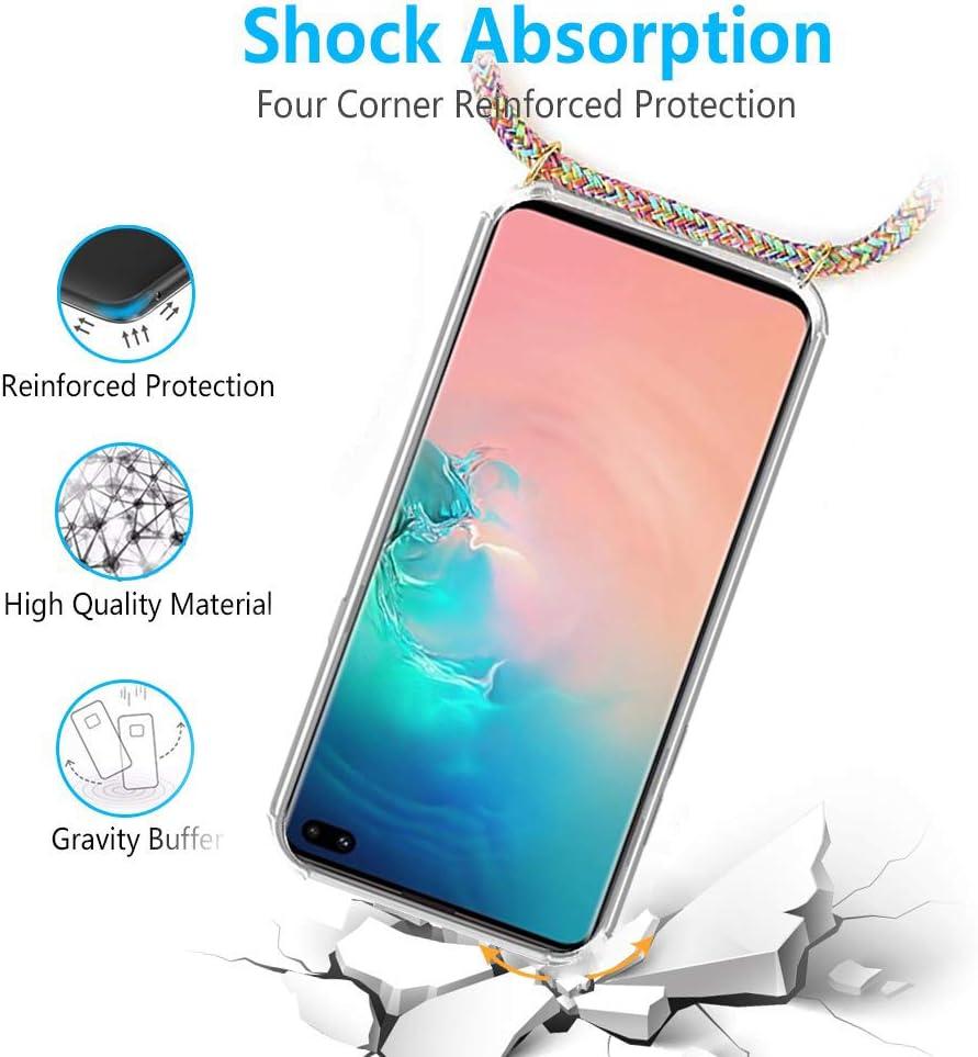 Anti-rasgu/ños Antichoque Moda y Practico FMPC Carcasa con Cuerda Samsung Galaxy S10 Cristal TPU Silicona Transparente Ultrafina de movil Case con Colgante Funda Protector Airbag