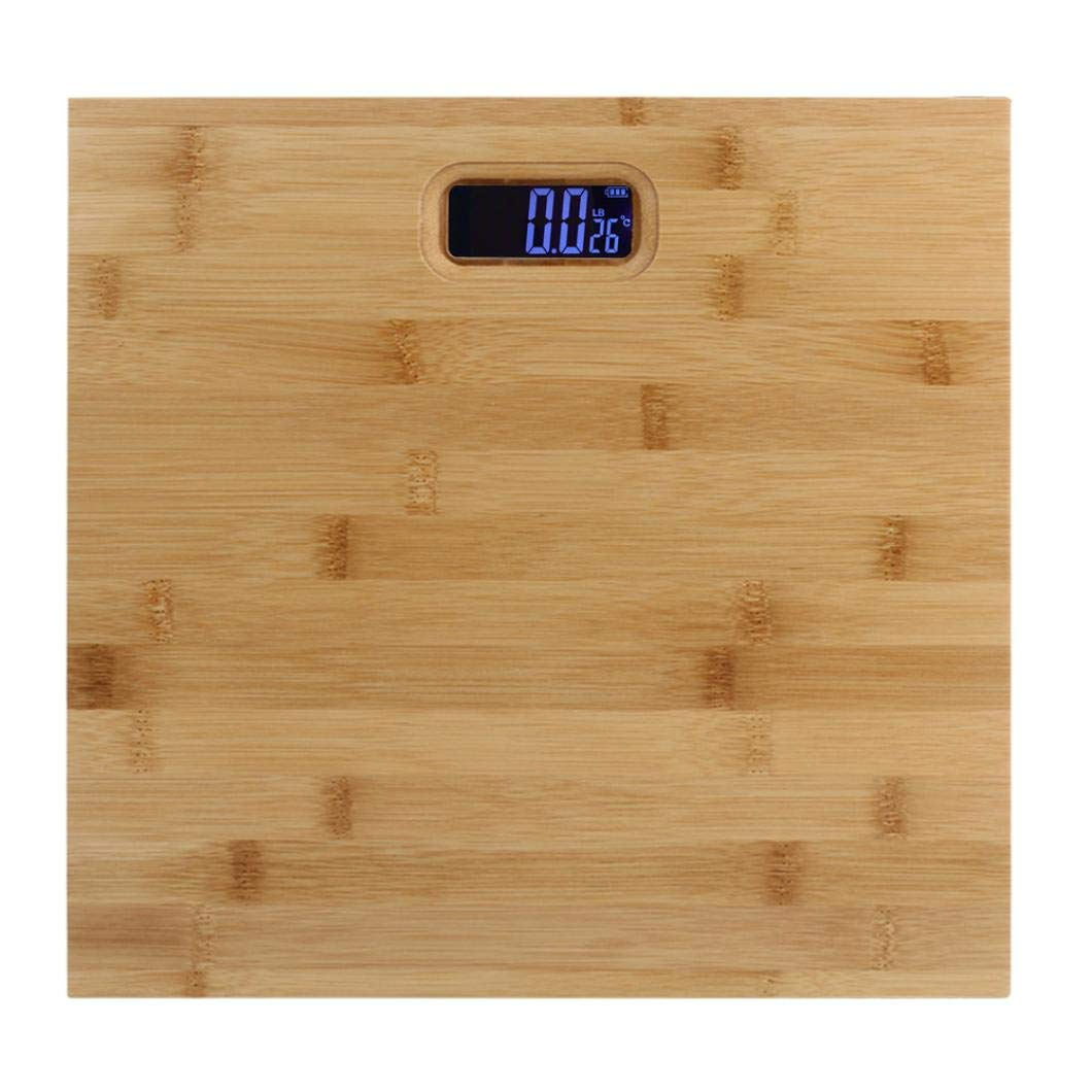 Rumas Wooden Body Weight Bathroom Scale - Digital 2032 Button Battery Operated Body Scale - 400 pounds - Accurate Measurement Electric Body Weight Scale for Kids Studnets Women Men (Yellow)