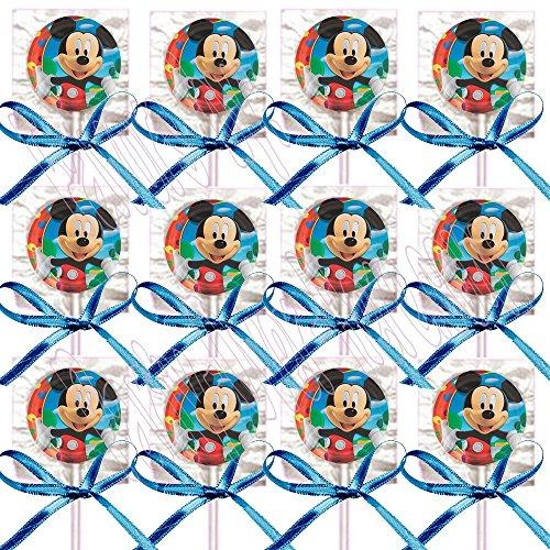 Mickey Mouse Party Favors Supplies Decorations GENERIC Lollipops w/ Blue Bows Favors -12 pcs]()