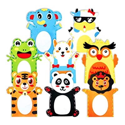 YESZ DIY Animal Hand Puppet Toy 5Pcs Kid DIY Cartoon Animal Hand Puppet Handmade Sewing Crafts Educational Toy - Random Style 5 Pcs: Toys & Games
