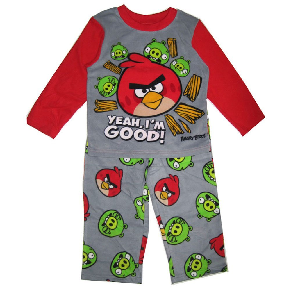 Angry Birds big Boys Character Printed 2 Pc Pajama Set 10 Grey Red