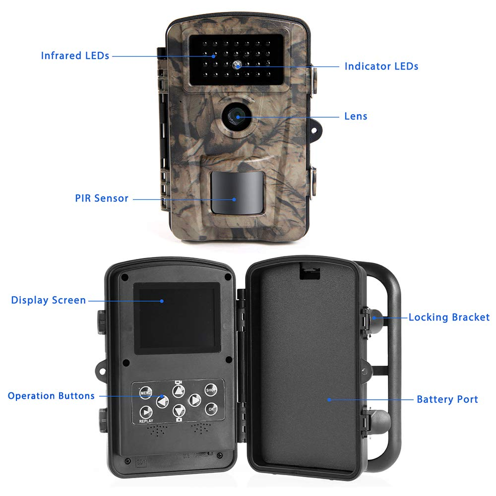 Siensen Trail Camera 12MP 1080P 2.4'' LCD Wildlife Hunting Camera with 90° Wide Angle, Night Vision Up to 65ft/20m, IP66 Waterproof Design Wildlife Surveillance Game Camera by Siensen (Image #8)