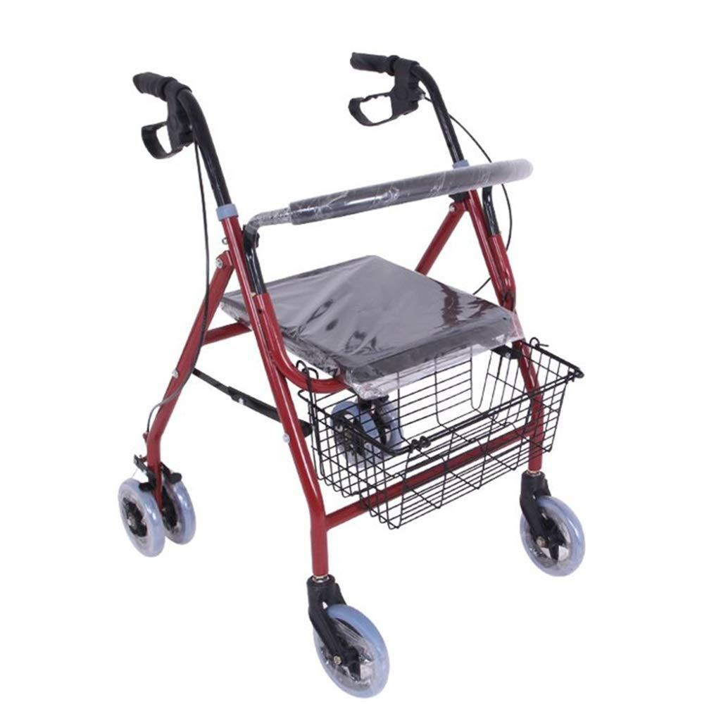 ショッピングキャリー 買い物カゴお年寄りヘルパー四輪トロリー折りたたみ式車椅子食料品買物かご付携帯スクーター100kg耐えることができる (Color : Red, Size : 80*56*70cm) B07NNZ1W3C Red 80*56*70cm