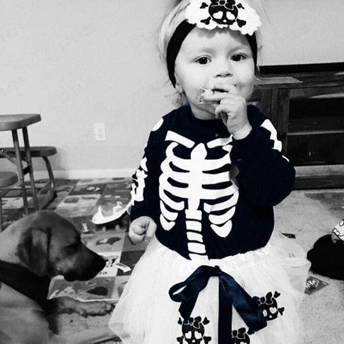 Baby Girls Halloween Outfits Skull Skeleton Romper Skirt Leg Warmer Set for Infant Toddler