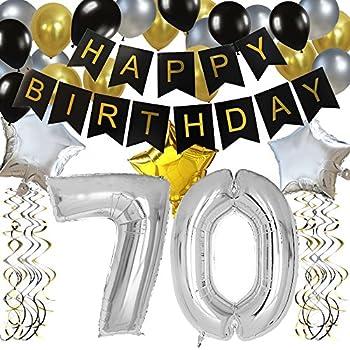 KUNGYO Classy 70TH Birthday Party Decorations Kit Black Happy Brithday BannerSilver 70 Mylar Foil Balloon Star Latex BalloonHanging Swirls