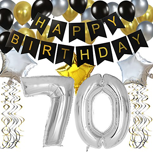 KUNGYO Classy 70TH Birthday Party Decorations Kit-Black Happy Brithday Banner,Silver 70 Mylar Foil Balloon, Star, Latex Balloon,Hanging Swirls, Perfect Seventy Years Old Party (70 Party Decorations)