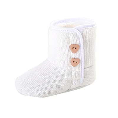 Amiley Toddler Baby Button Snow Boots Soft Sole Prewalker Crib Shoes Bootie