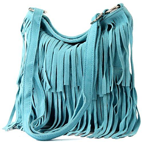 Sac à main italien sac à bandoulière cabas femme en cuir véritable sac T02 Hellblau