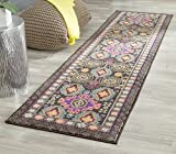 Safavieh Monaco Collection MNC240B Modern Bohemian Geometric Brown and Multi Distressed Runner (2'2'' x 8')
