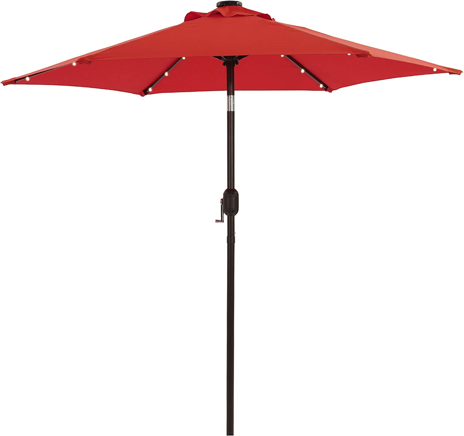 Aok Garden 7.5 ft Solar Patio Umbrella with 18 LED Lights Outdoor Table Market Umbrella with Push Button Tilt and Crank 6 Sturdy Aluminum Ribs for Deck, Lawn, Pool& Backyard, Chili Red
