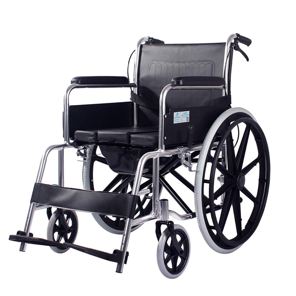 XXHDEE Wheelchair Travel Chair Elderly Disabled Aluminum Manual Seat Wheelchair Lightweight Transport Folding Portable Walking aids by XXHDEE