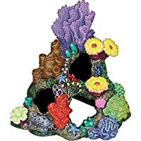 Ornamentos exóticos Indonesios Reef Cavern acuario Ornamento, 9 pulgadas por 7 pulgadas por 8 pulgadas