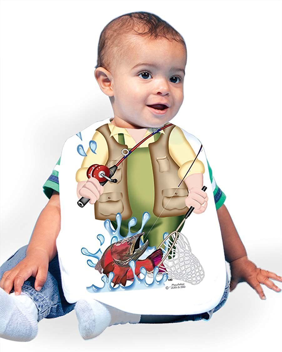 Just Add A Kid Baby Boy's Fishing Alaska Salmon 180 Baby Bib 0-6 Months White
