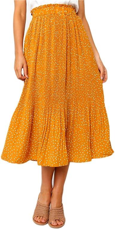 Honghu Falda Estampada de Cintura Alta para Mujer Faldas largas ...