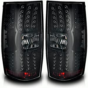 LED Taillights Tail Lamps For Chevy Suburban 2007-2014 Chevy Tahoe 2007-2014 (Black Smoke Replacement Assembly Do NOT Fit Barn Door Models) ATTL0210