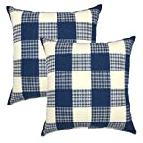 YOUR SMILE Retro Farmhouse Tartan Plaid Cotton Linen Square Decorative Throw Pillow Case Cushion Cover Pillowcase for Sofa 18 x 18 Inch, Set of 2 (Blue/New Checker)