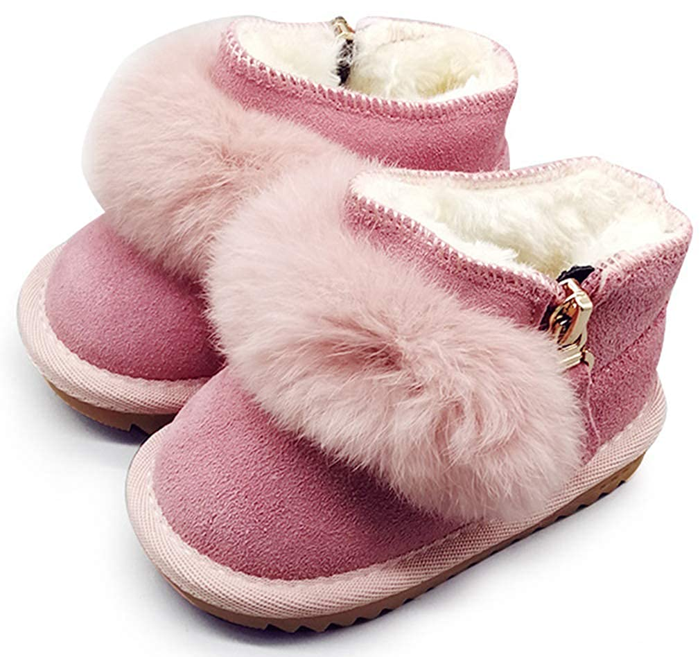 Toddler VECJUNIA Baby Kids Ankle Boots Soft Sole Nonslip Zip Up Shoes
