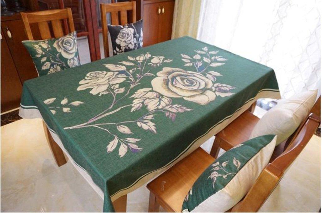Tablecloth.A ASL Tischdecke dunkle grüne Baumwolle Lepra Tischdecke rechteckige Tischdecke Kaffee Tischdecke wählen (Farbe   A, größe   200  140cm) B078B9FSPZ Tischdecken Hohe Qualität und Wirtschaftlichkeit  | Deutschland
