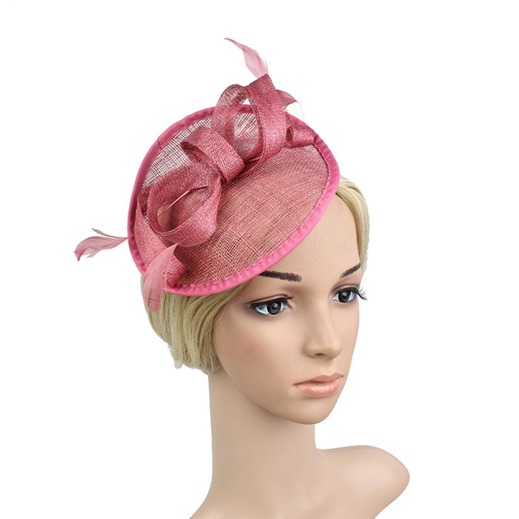 Old DIrd Sinamay Fascinator Hat Feather Party Pillbox Hat Bowknot Derby Hat for Women FST21