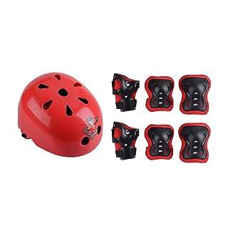 CJC Pattinaggio A Rotelle Attrezzatura di Protezione Bambino Casco 7 Pezzi/Set BMX Equitazione Skateboard Pattinare Tuta per Ginocchiere (Colore : 2)