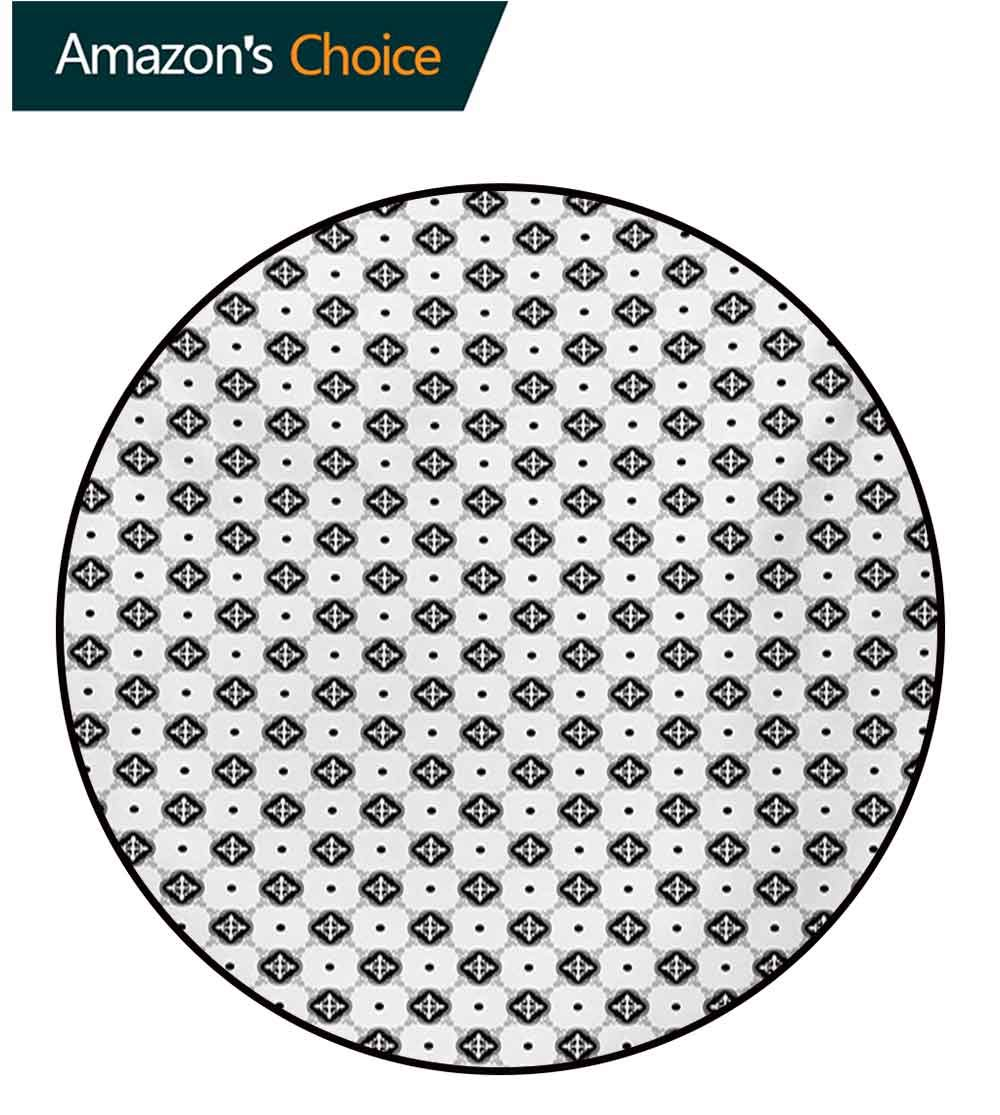 RUGSMAT Oriental Computer Chair Floor Mat,Traditional Moroccan Pattern On Dotted Background Vintage Eastern Design Printed Round Carpet for Children Bedroom Play Tent,Diameter-71 Inch