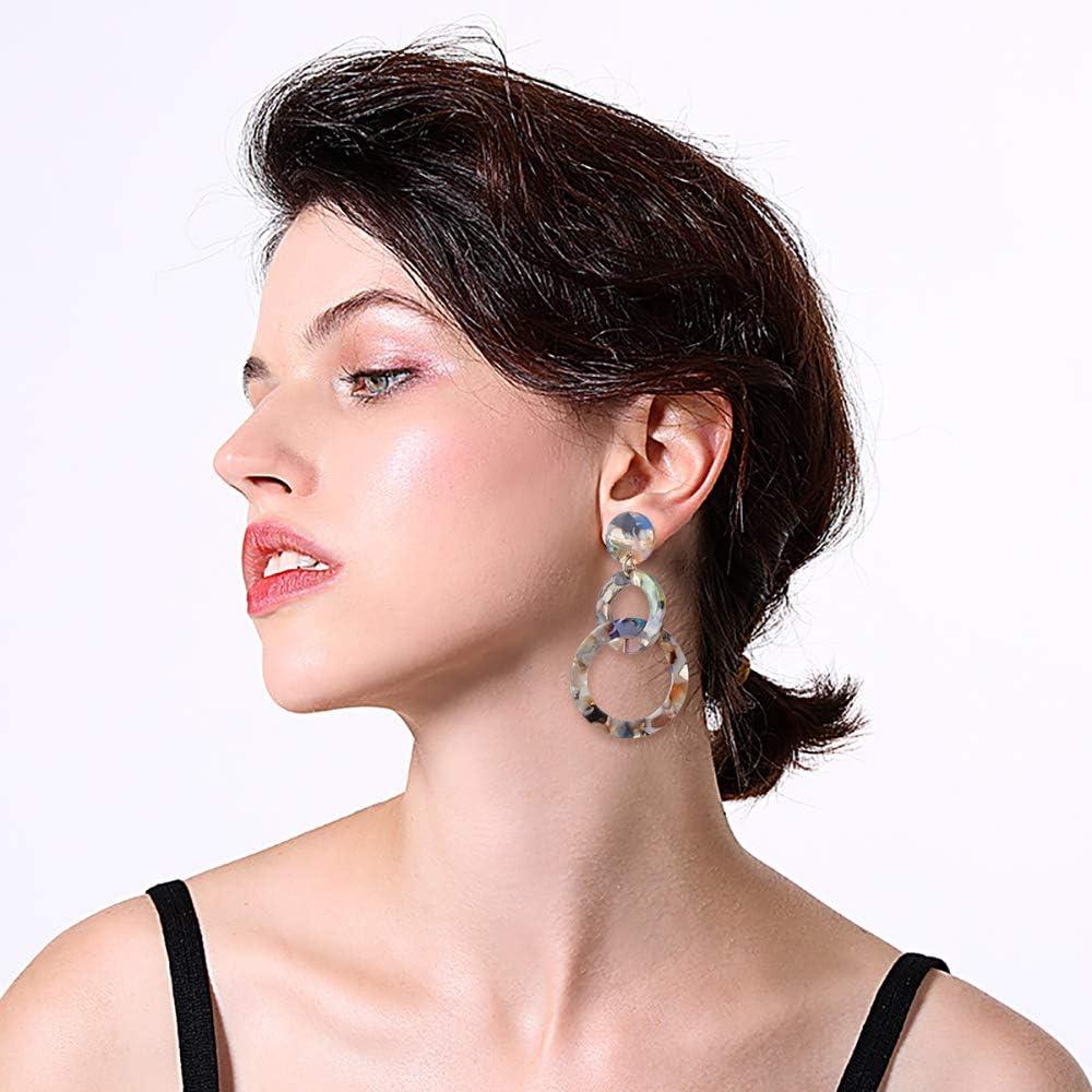 Fiery Summer Fashion Colorful Acrylic Earrings for Women Girls Statement Geometric Earrings Resin Acetate Drop Dangle Earrings