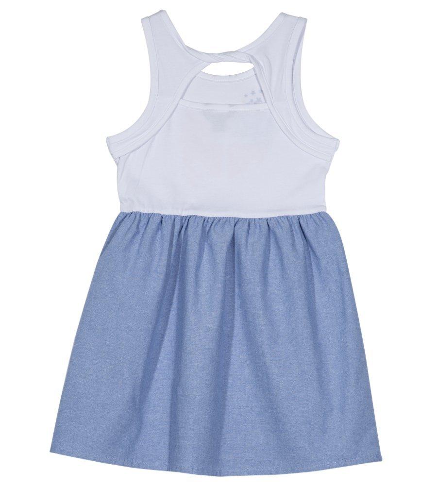 Nautica Girls' Little Patterned Sleeveless Dress, White/Chambray, 5 by Nautica (Image #1)