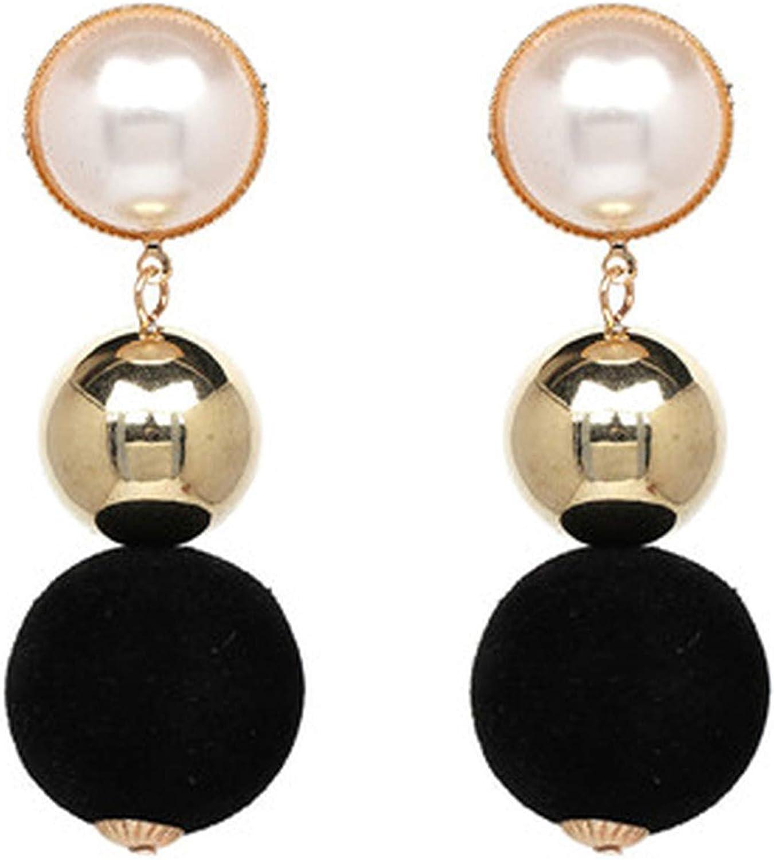 Pendientes colgantes de perlas de imitación, para mujer, grandes bolas de algodón