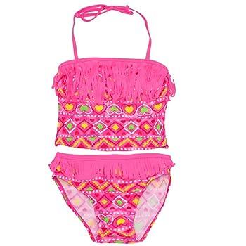 Little Girls Neon Pink Geometric Fringed 2 Pc Tankini Swimsuit 4-6X