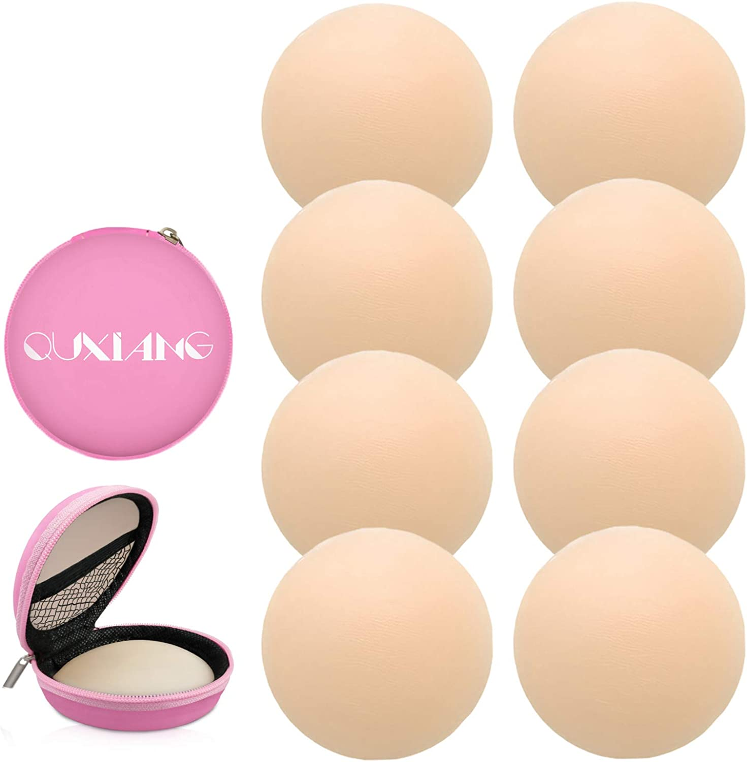 QUXIANG 4 Pairs Pasties Women Nipple Covers Reusable Adhesive Silicone Nippleless Covers (4 Round)